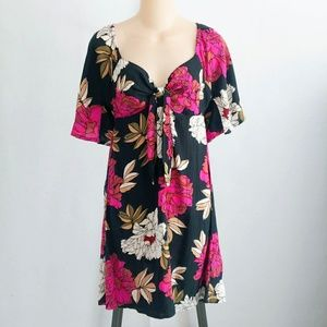 Billabong Floral Tie Front Delicious Day Dress